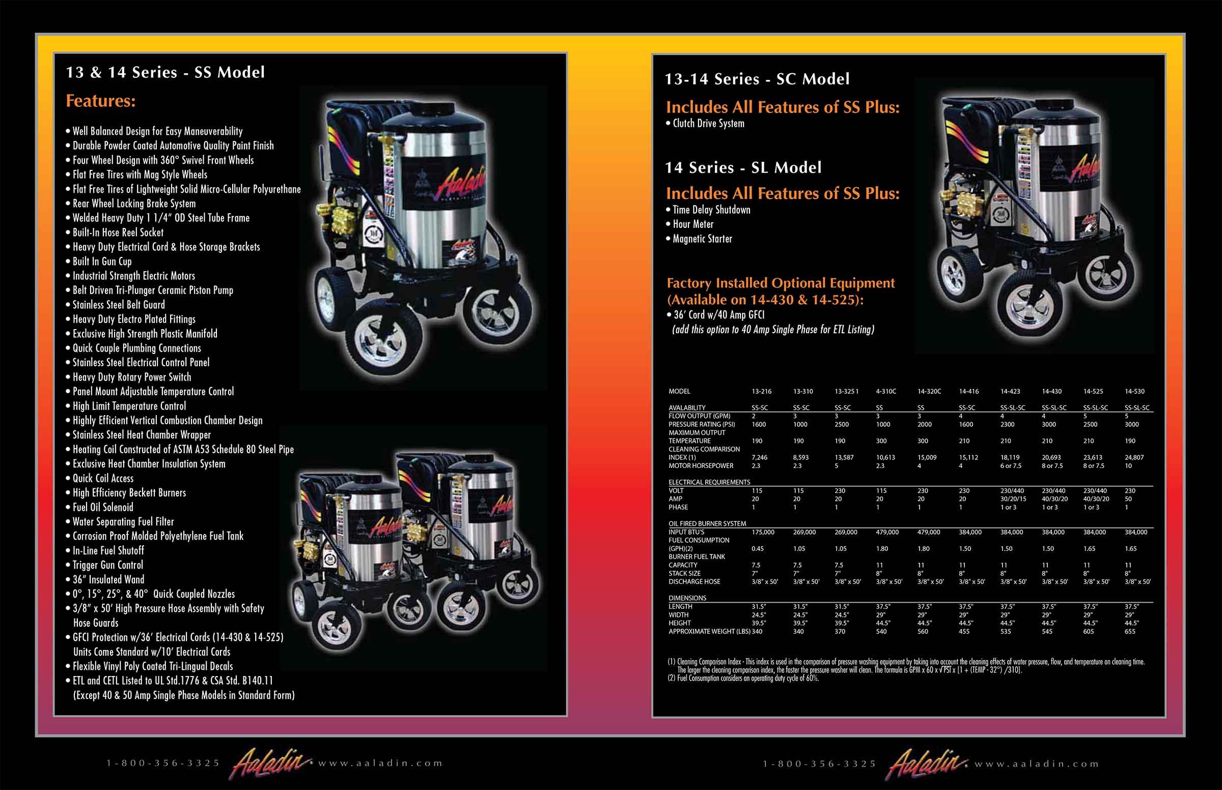 Aaladin 13-14 Series SS & SC Model equipment pamphlet