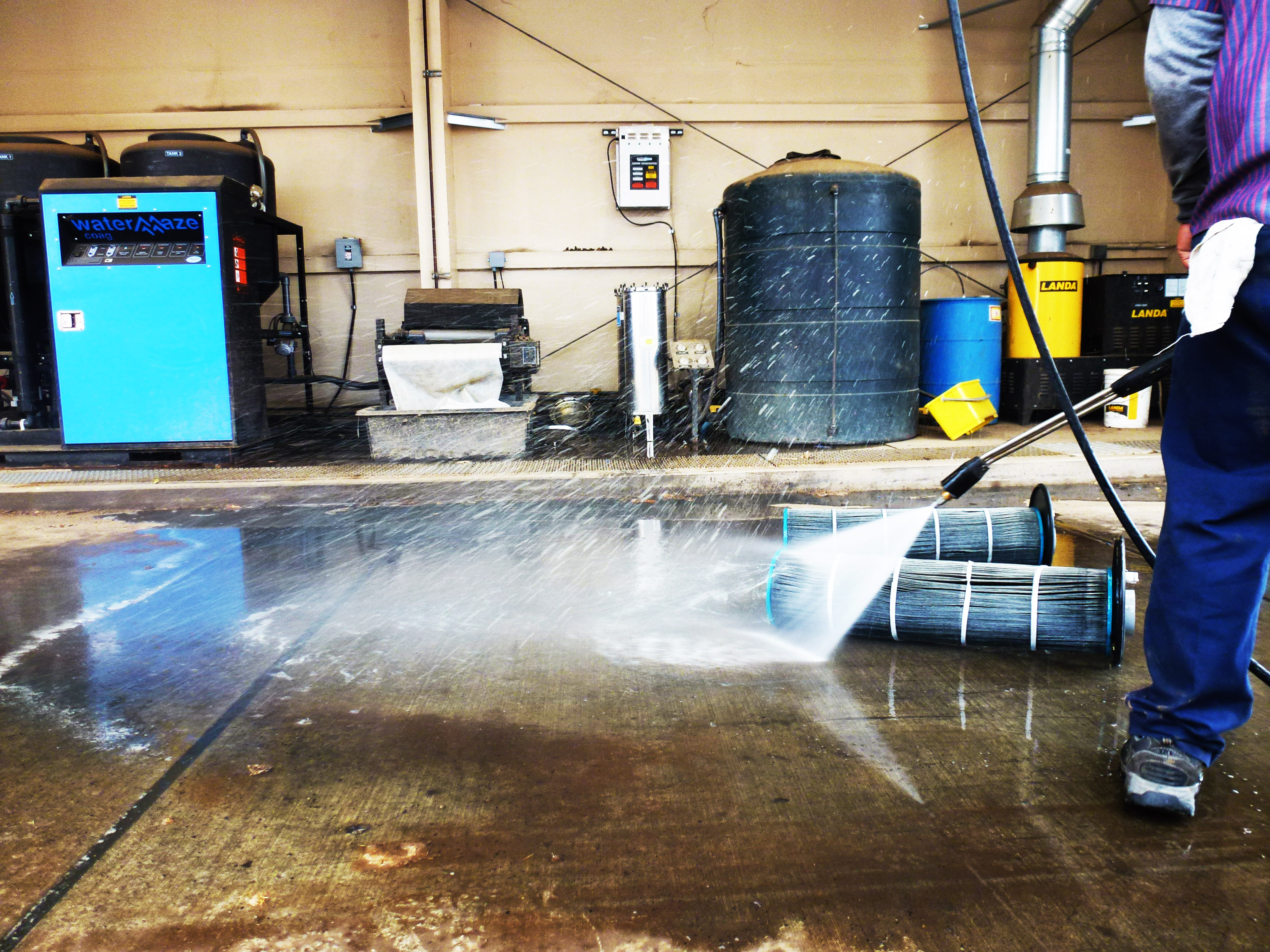Water Recycling System getting Cleaned